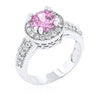 Darcy 4ct Pink CZ White Gold Rhodium Art Deco Engagement Ring