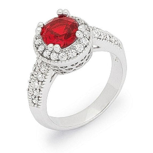 Darcy 3ct Ruby CZ White Gold Rhodium Art Deco Engagement Ring
