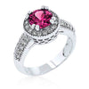 Darcy 4ct Fuchsia CZ White Gold Rhodium Art Deco Engagement Ring