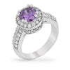 Darcy 4ct Amethyst CZ White Gold Rhodium Art Deco Engagement Ring