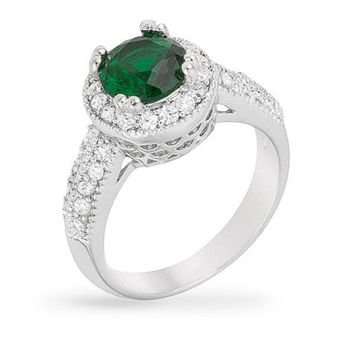 Darcy 3ct Emerald CZ White Gold Rhodium Art Deco Engagement Ring