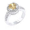 Darcy 4ct Champagne CZ White Gold Rhodium Art Deco Engagement Ring