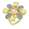 Multi-Cubic Zirconia Floral Golden Ring