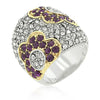 Tina Crystal White Gold Rhodium Floral Wide Ring