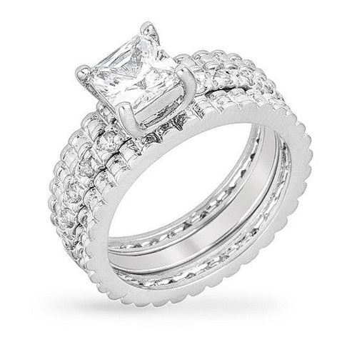 Abby 2ct CZ White Gold Rhodium Ring Set