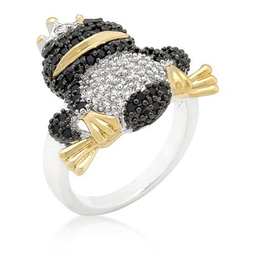 Clarence 4.4ct CZ Two-Tone Micro-Pave Frog Ring