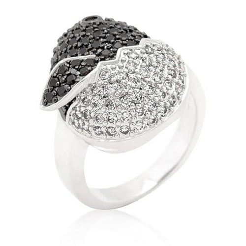 Charlie 6.3ct Black and White CZ White Gold Rhodium Baby Chick Micro-Pave Ring