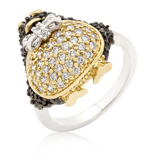 Jet Black Cubic Zirconia Penguin Ring