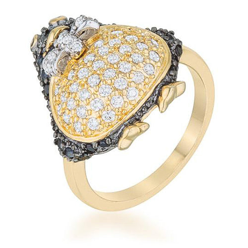 Louisa 5ct Jet Black CZ Penguin Cocktail Ring