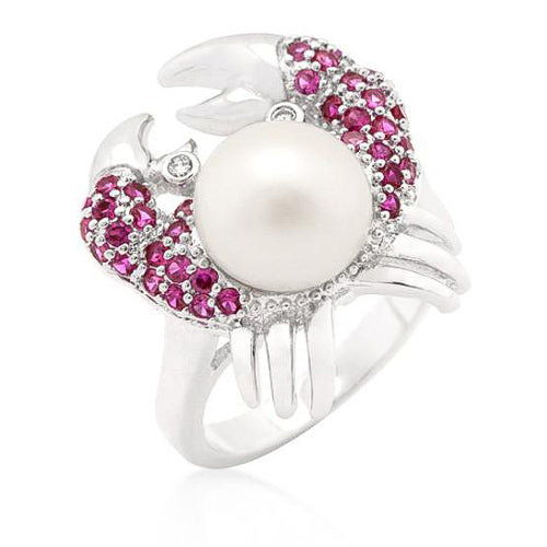 Serina 2ct CZ Ruby White Gold Rhodium Pearl Crab Cocktail Ring