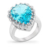 Marcy 8ct Blue Aqua CZ White Gold Rhodium Ring