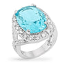 Nancy 15ct Blue Topaz CZ White Gold Rhodium Cocktail Ring