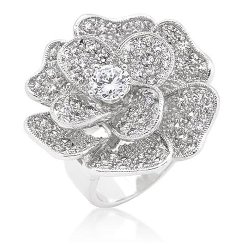 Florina 4.9ct CZ White Gold Rhodium Flower Cocktail Ring