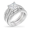 Mia 4ct CZ White Gold Rhodium Wedding Band Set