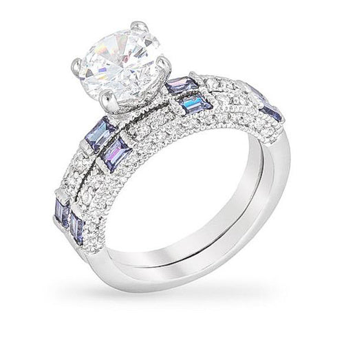 April 2.6ct Clear and Tanzanite CZ White Gold Rhodium Ring