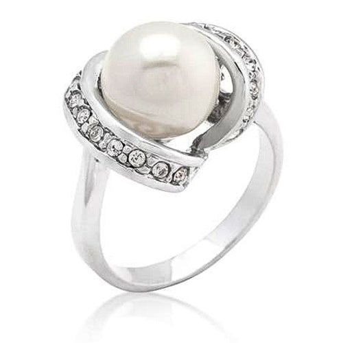 Karla 2.4ct CZ White Gold Rhodium Pearl Cocktail Ring