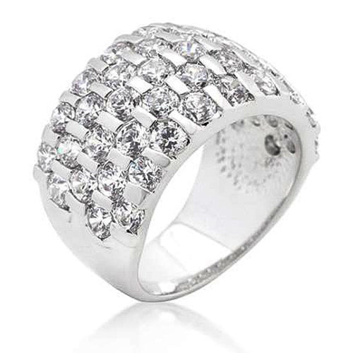 Sherilyn 8.8ct CZ White Gold Rhodium Cocktail Band Ring