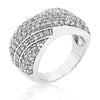 Olivia 6.3ct CZ White Gold Rhodium Pave Overlap Diagonal Ring