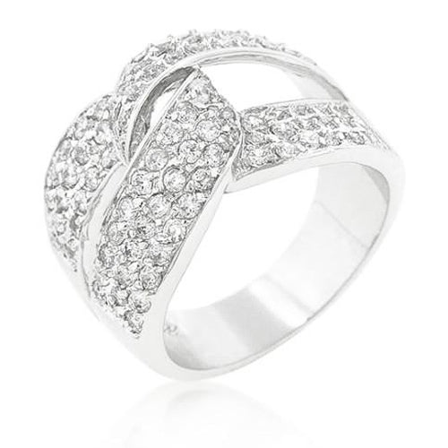 Emanuelle 9ct CZ White Gold Rhodium Elegant Knot Ring