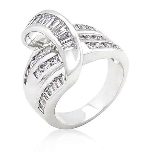Christine 2.4ct CZ White Gold Rhodium Overlap Cocktail Ring