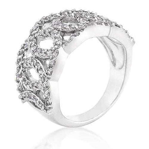Marlene 12.5ct CZ White Gold Rhodium Circular Ring