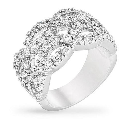 Bridgette 7.5ct CZ White Gold Rhodium Braided Ring