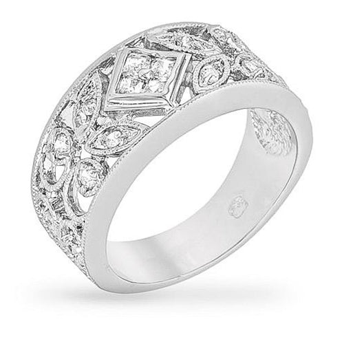 Cait 1.8ct CZ White Gold Rhodium Floral Wide Band