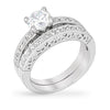 Shea 1ct CZ White Gold Rhodium Engagement Ring Set