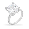Rachel 11ct CZ White Gold Rhodium Large Cushion Cut Engagement Ring