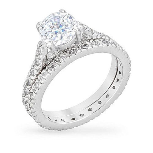 Sydney 3.5ct CZ White Gold Rhodium Engagement Ring Set