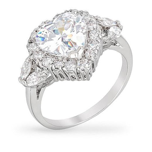 Bella 6ct CZ White Gold Rhodium Heart Ring