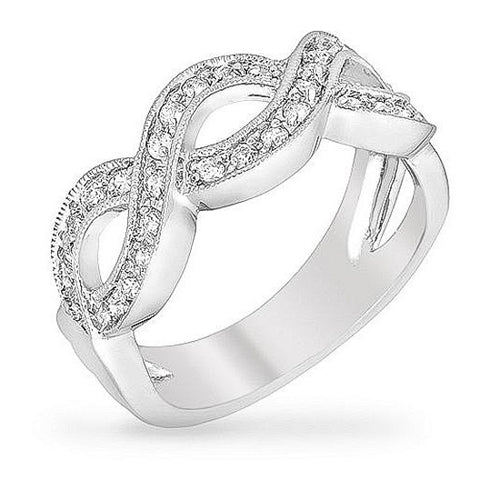 Susan 0.8ct CZ White Gold Rhodium Braided Band Ring