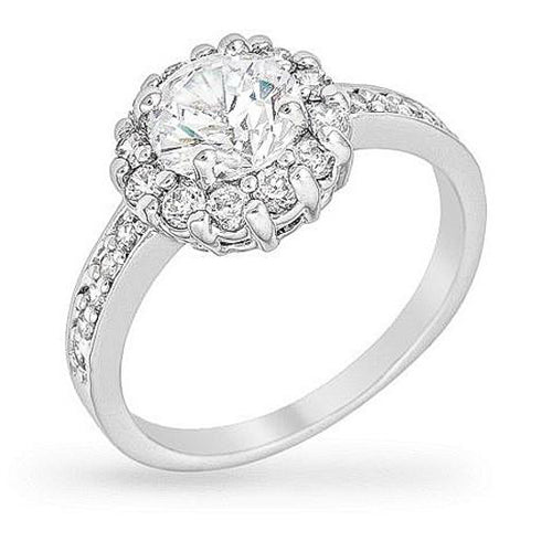 Emmelina 2.5ct CZ White Gold Rhodium Floral Ring