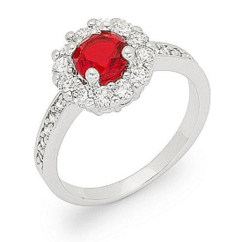 Emmelina 2.5ct Ruby CZ White Gold Rhodium Floral Ring