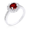 Emmelina 2.5ct Garnet CZ White Gold Rhodium Floral Ring