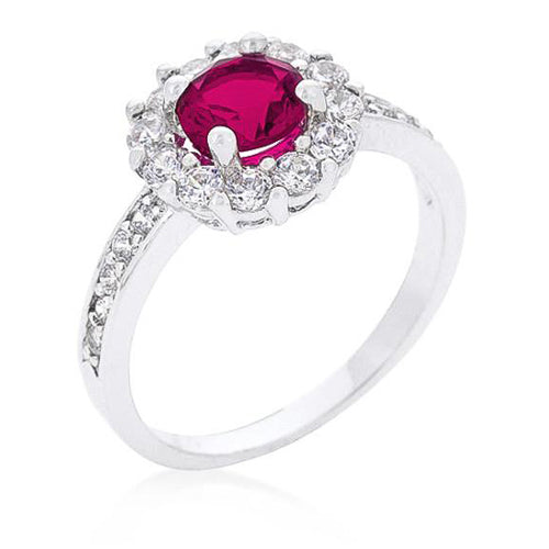 Emmelina 2.5ct Fuchsia CZ White Gold Rhodium Floral Ring