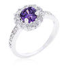 Emmelina 2.5ct Amethyst CZ White Gold Rhodium Floral Ring
