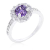 Emmelina 2.5ct Lavender CZ White Gold Rhodium Floral Ring