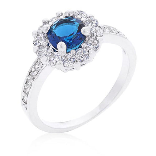Emmelina 2.5ct Sapphire CZ White Gold Rhodium Floral Ring