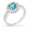 Emmelina 2.5ct Aqua CZ White Gold Rhodium Floral Ring
