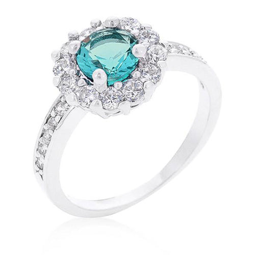 Emmelina 2.5ct Turquoise CZ White Gold Rhodium Floral Ring
