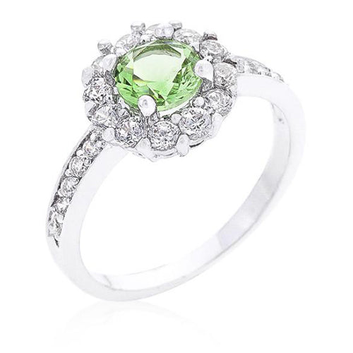 Emmelina 2.5ct Peridot CZ White Gold Rhodium Floral Ring