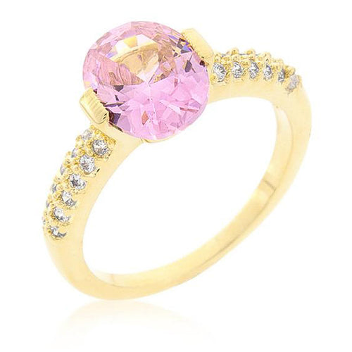 Jules 1.8ct Pink CZ 14k Gold Ring
