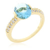 Jules 1.8ct Aqua CZ 14k Gold Ring