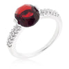 Jules 1.8ct Garnet CZ White Gold Rhodium Ring