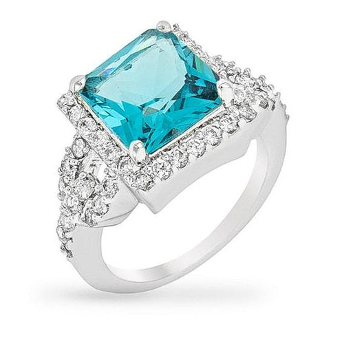 Elena 3.8ct Aqua CZ White Gold Rhodium Cocktail Ring