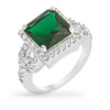 Elena 3.8ct Emerald CZ White Gold Rhodium Cocktail Ring