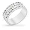 Kristal Clear Crystal White Gold Rhodium Triple Eternity Band