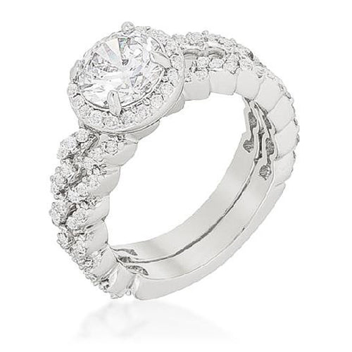Sasha 2.5ct CZ White Gold Rhodium Modern Bridal Set