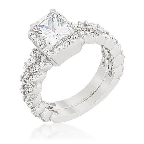 Janette 2.4ct CZ White Gold Rhodium Bridal Set